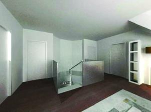 Pohled z haly na schody - nad schody bude ještě nějaký pěkný lustr.