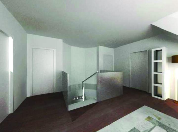 Vizualizace - Pohled z haly na schody - nad schody bude ještě nějaký pěkný lustr.