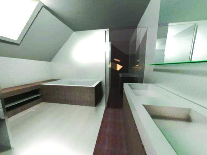 Vizualizace - Pohled do koupelny od dveří. Nakonec bude podlaha jednolitá ze světlého pandoma. Ostatní zůstane stejné. Vana obložená kachličkama, vedle sprchový kout (bude navazovat hned na vanu), na druhou stranu od vany je polička na ručníky.