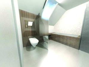 Pohled do koupelny od umyvadel - wc je odděleno skleněnou příčkou a zadní stěna je obložená obklady.