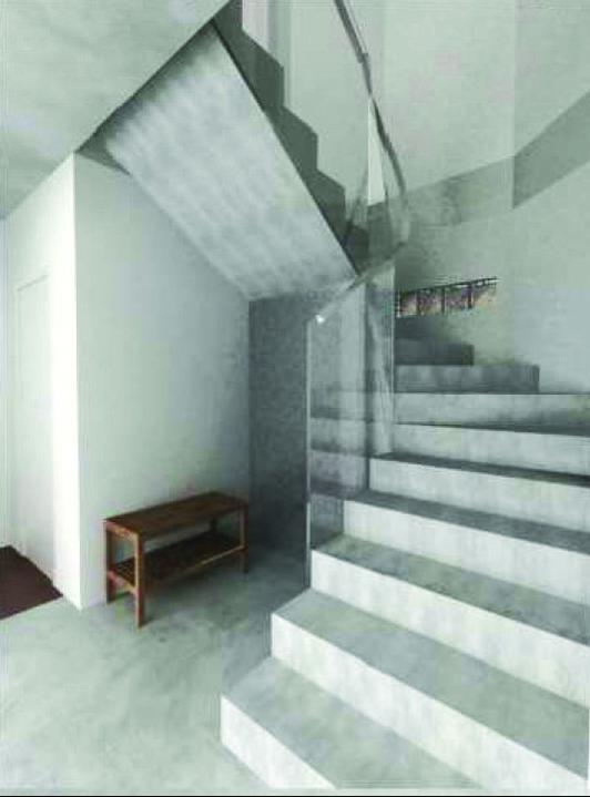 Vizualizace - Pohled na schody a luxfery.