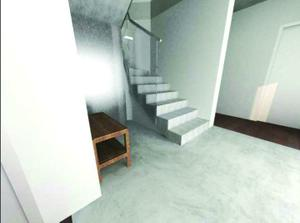 Hala v přízemí - pod schody je malá místnůstka na odkládání všeho možného na úklid - původně měla začínat hned se schody, ale nakonec jsme nechali část prostoru volného a vešla se tam i menší lavička.