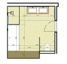 Koupelna - rozmístění nábytku. Jako povrch plánujeme pandomo (světlejší barva) v kombinaci s obklady (tmavě hnědá). To tmavě hnědé za vanou je polička obložená obklady.