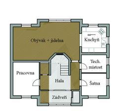 """Finální návrh podlah - hnědá představuje """"polystyl agora""""-PVC v barvě tmavého dřeva; šedá pak představuje pandomo. Právě řešíme s podlaháři, jak přesně vyrešit napojení dvou druhů krytiny v jedné místosti, ale vypadá to, že nějaké řešení se najde:-)"""