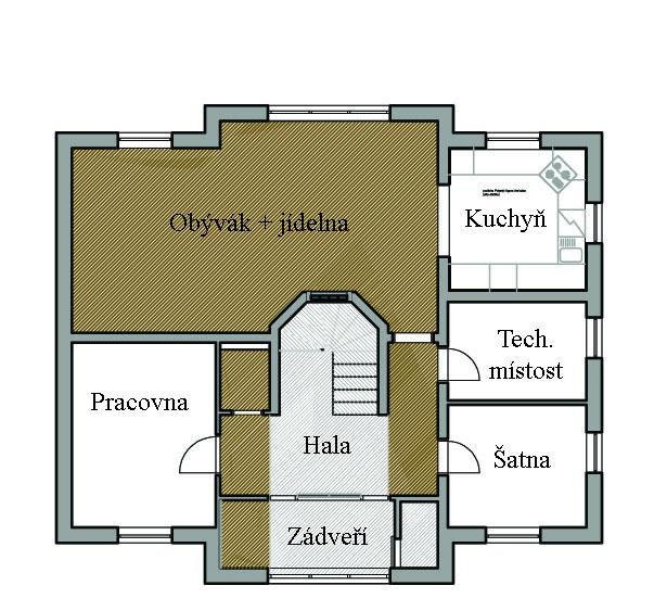 """Vizualizace - Finální návrh podlah - hnědá představuje """"polystyl agora""""-PVC v barvě tmavého dřeva; šedá pak představuje pandomo. Právě řešíme s podlaháři, jak přesně vyrešit napojení dvou druhů krytiny v jedné místosti, ale vypadá to, že nějaké řešení se najde:-)"""