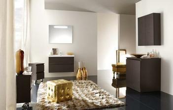 Tuto barevnou kombinaci budeme mít v ložnici - tmavá podlaha, tmavý nábytek a zlaté doplňky - ještě kdyby se mi někde podařilo sehnat zlatou kostku z obrázku:-)