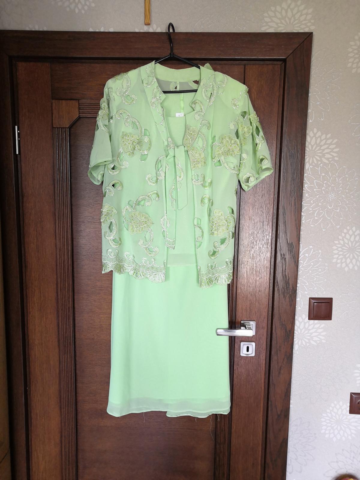 Dlhé bohatozdobené spoločenské šaty veľkosť 48 - Obrázok č. 1