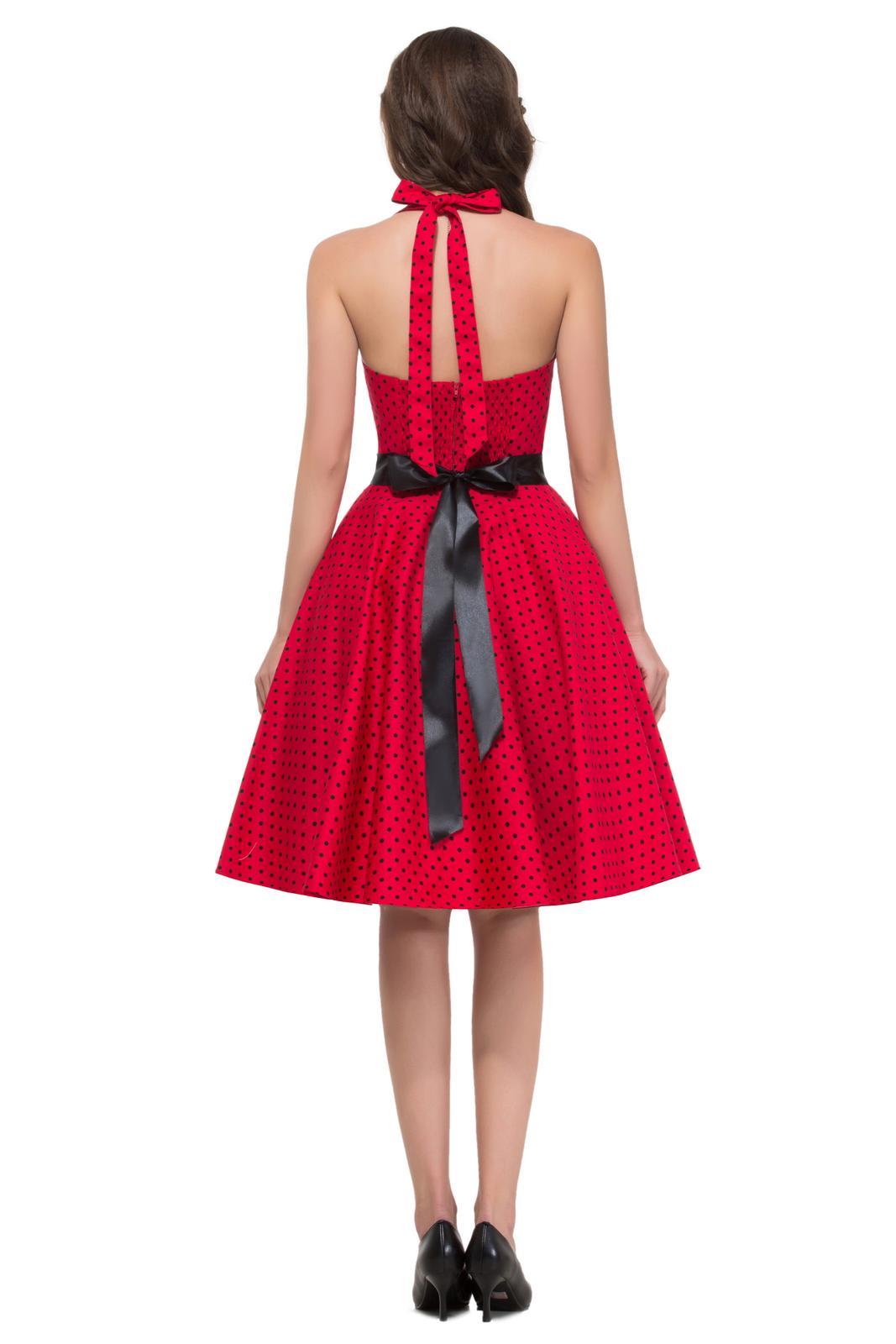 Retro šaty - Úžasné červené retro šaty s čiernymi guličkami 50. roky SKLADOM: http://salonevamaria.sk/index.php?id_category=27&controller=category NA OBJEDNÁVKU: http://salonevamaria.sk/index.php?id_category=10&controller=category