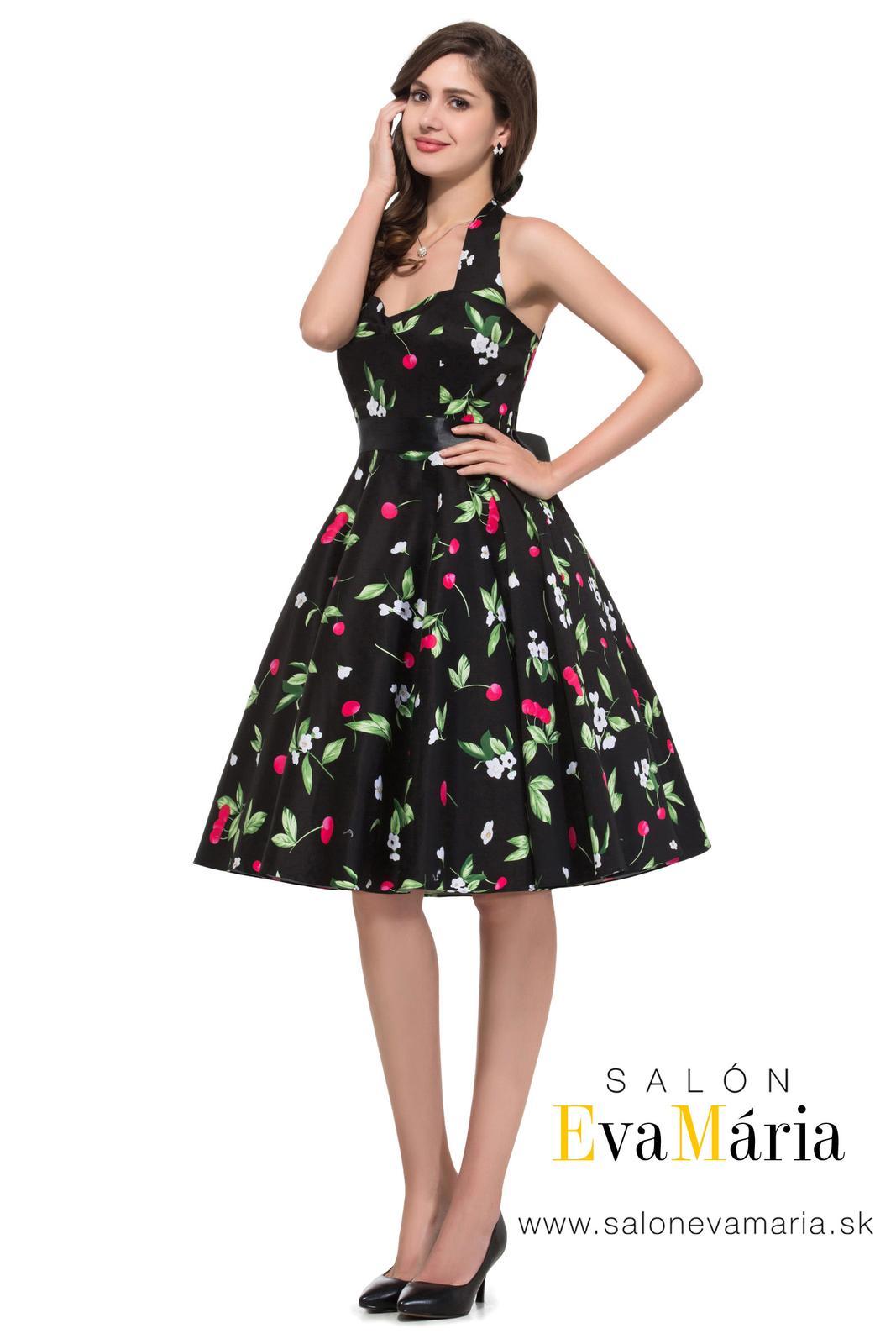 Retro šaty - Čierne retro šaty s čerešňami - 50. roky SKLADOM: http://salonevamaria.sk/index.php?id_category=27&controller=category NA OBJEDNÁVKU: http://salonevamaria.sk/index.php?id_category=10&controller=category