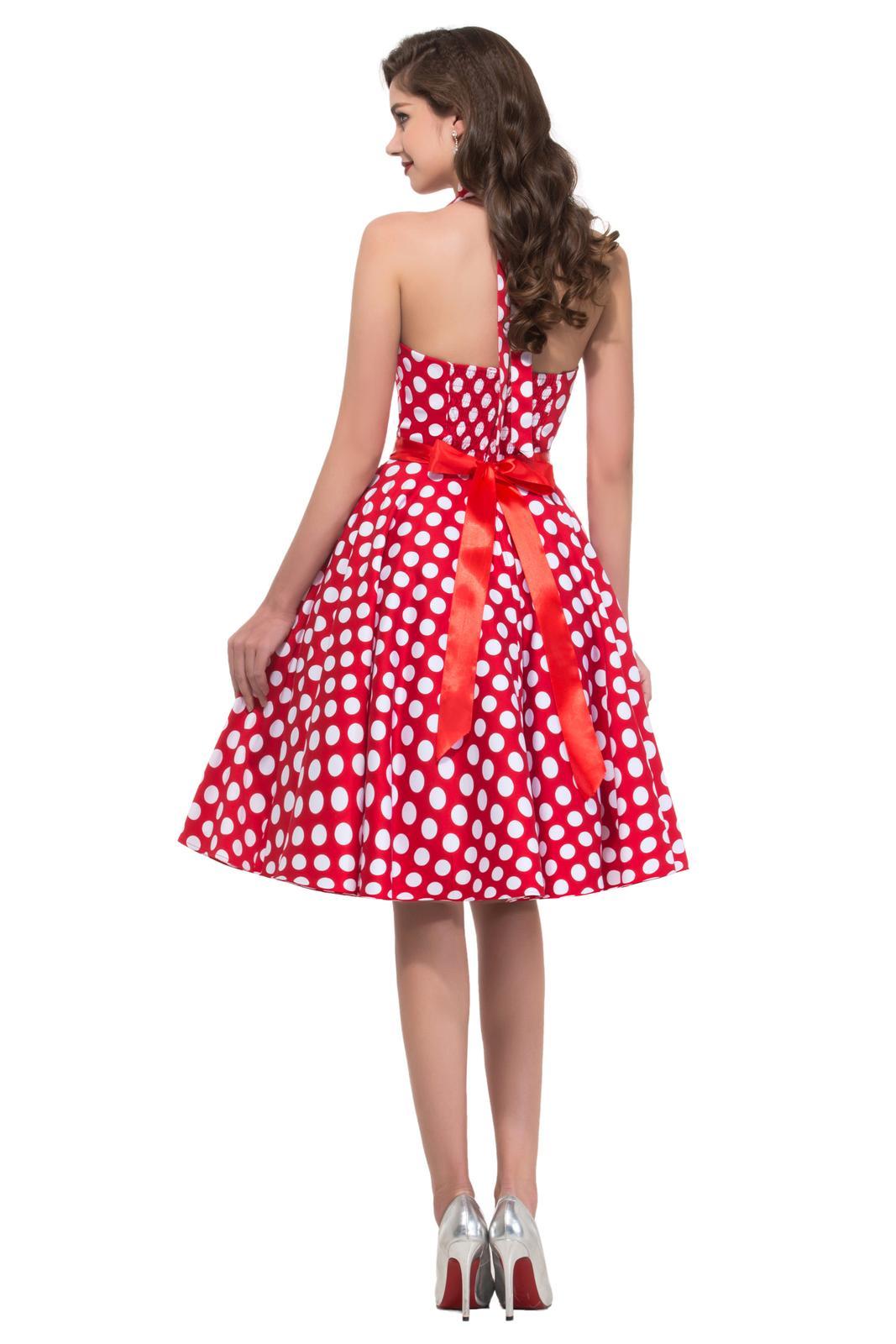 Retro šaty - Jedinečné červené retro šaty s bielymi guličkami - 50. roky SKLADOM: http://salonevamaria.sk/index.php?id_category=27&controller=category NA OBJEDNÁVKU: http://salonevamaria.sk/index.php?id_category=10&controller=category