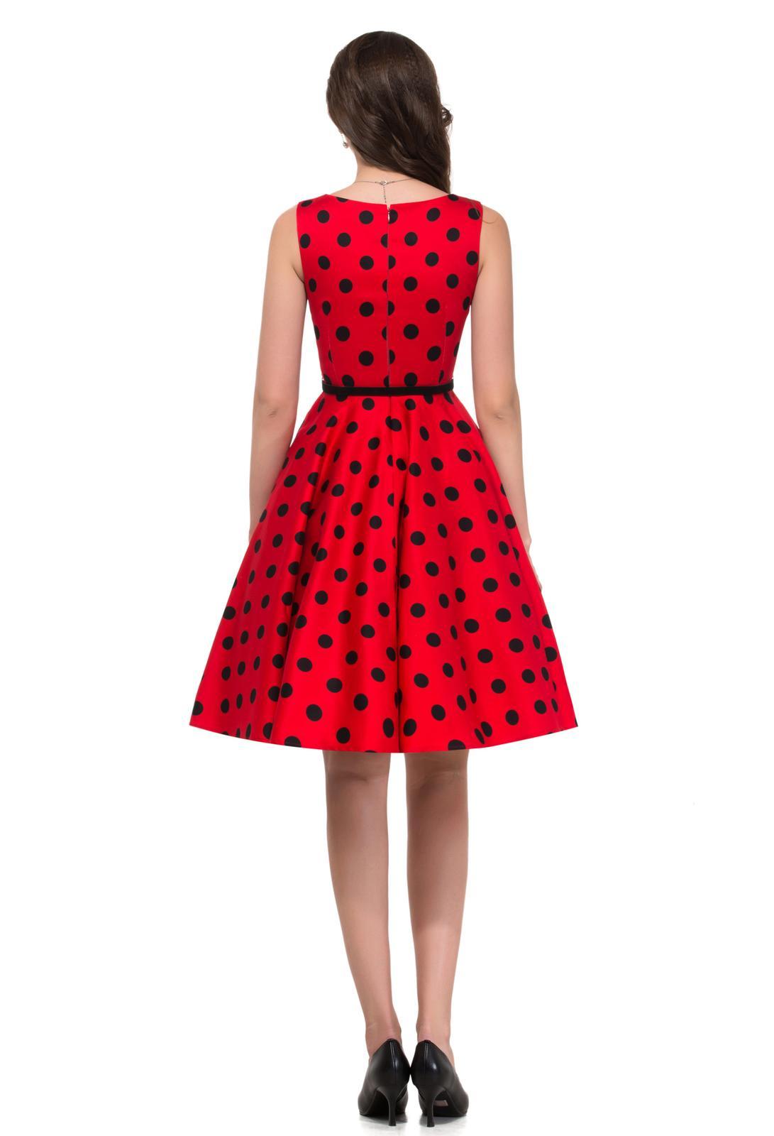 Retro šaty - Prekrásne červené retro šaty s čiernymi guličkami 50. roky SKLADOM: http://salonevamaria.sk/index.php?id_category=27&controller=category NA OBJEDNÁVKU: http://salonevamaria.sk/index.php?id_category=10&controller=category