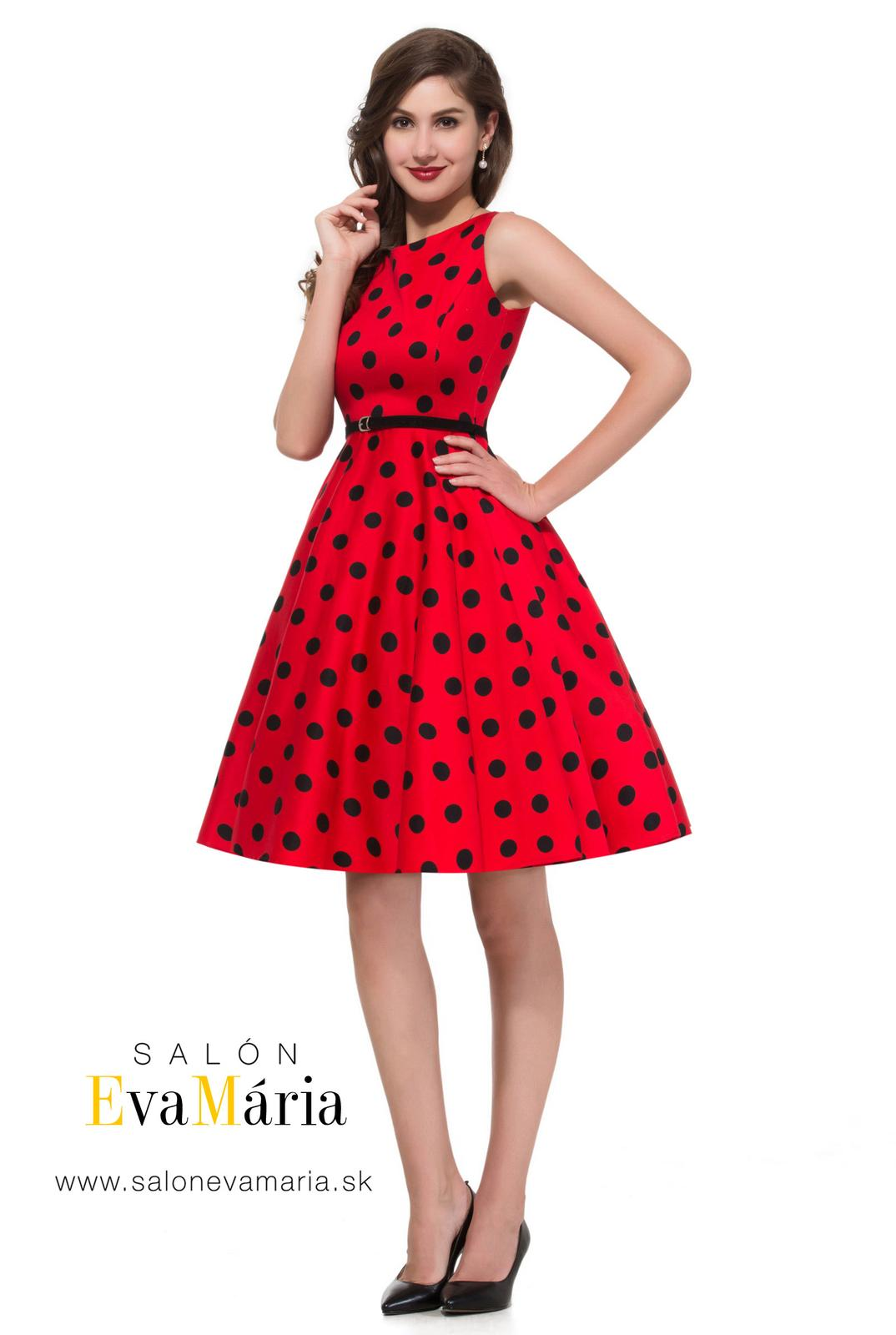 Retro šaty - Prekrásne červené retro šaty s čiernymi guličkami SKLADOM: http://salonevamaria.sk/index.php?id_category=27&controller=category NA OBJEDNÁVKU: http://salonevamaria.sk/index.php?id_category=10&controller=category