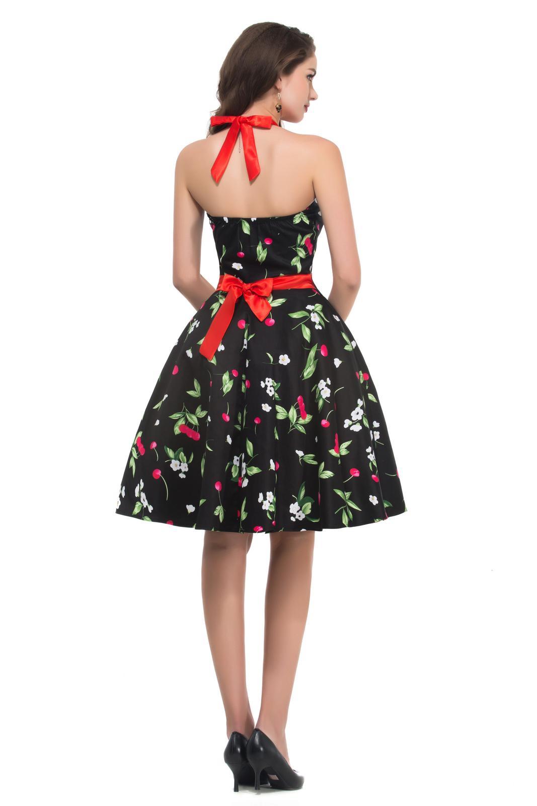 Retro šaty - Jedinečné čierne retro šaty s čerešničkami - 50. roky SKLADOM: http://salonevamaria.sk/index.php?id_category=27&controller=category NA OBJEDNÁVKU: http://salonevamaria.sk/index.php?id_category=10&controller=category