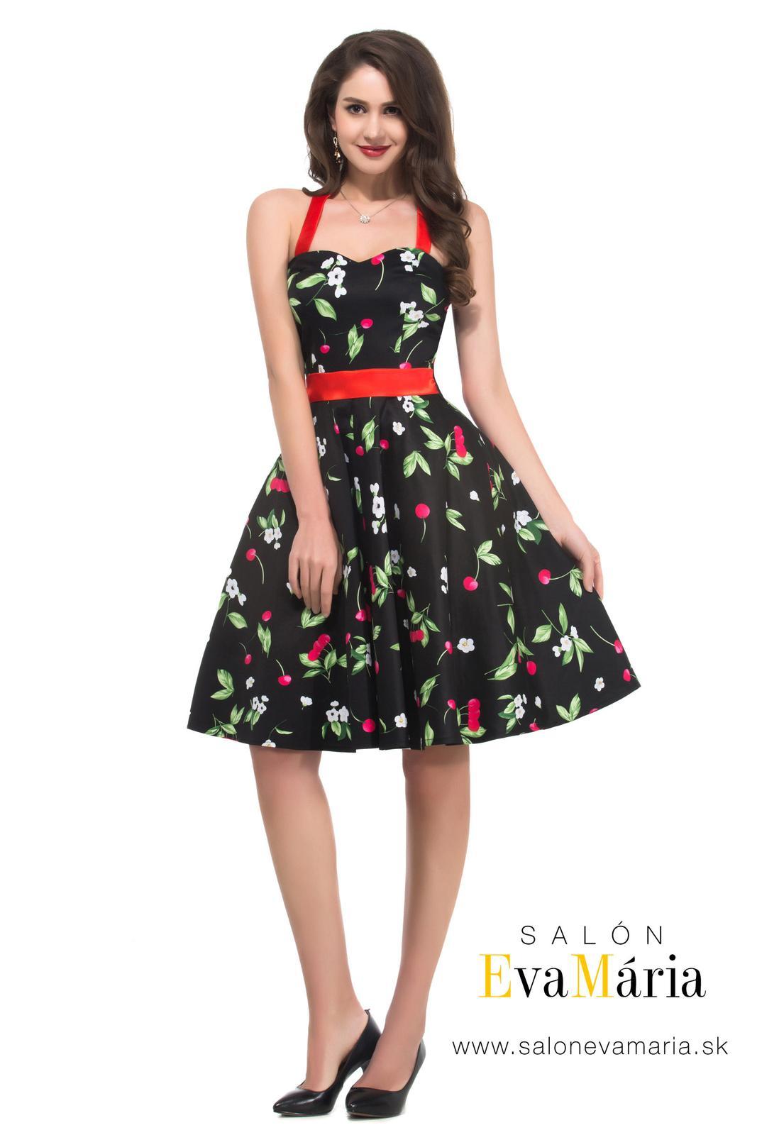 Retro šaty - Jedinečné čierne retro šaty s čerešňami - 50. roky SKLADOM: http://salonevamaria.sk/index.php?id_category=27&controller=category NA OBJEDNÁVKU: http://salonevamaria.sk/index.php?id_category=10&controller=category