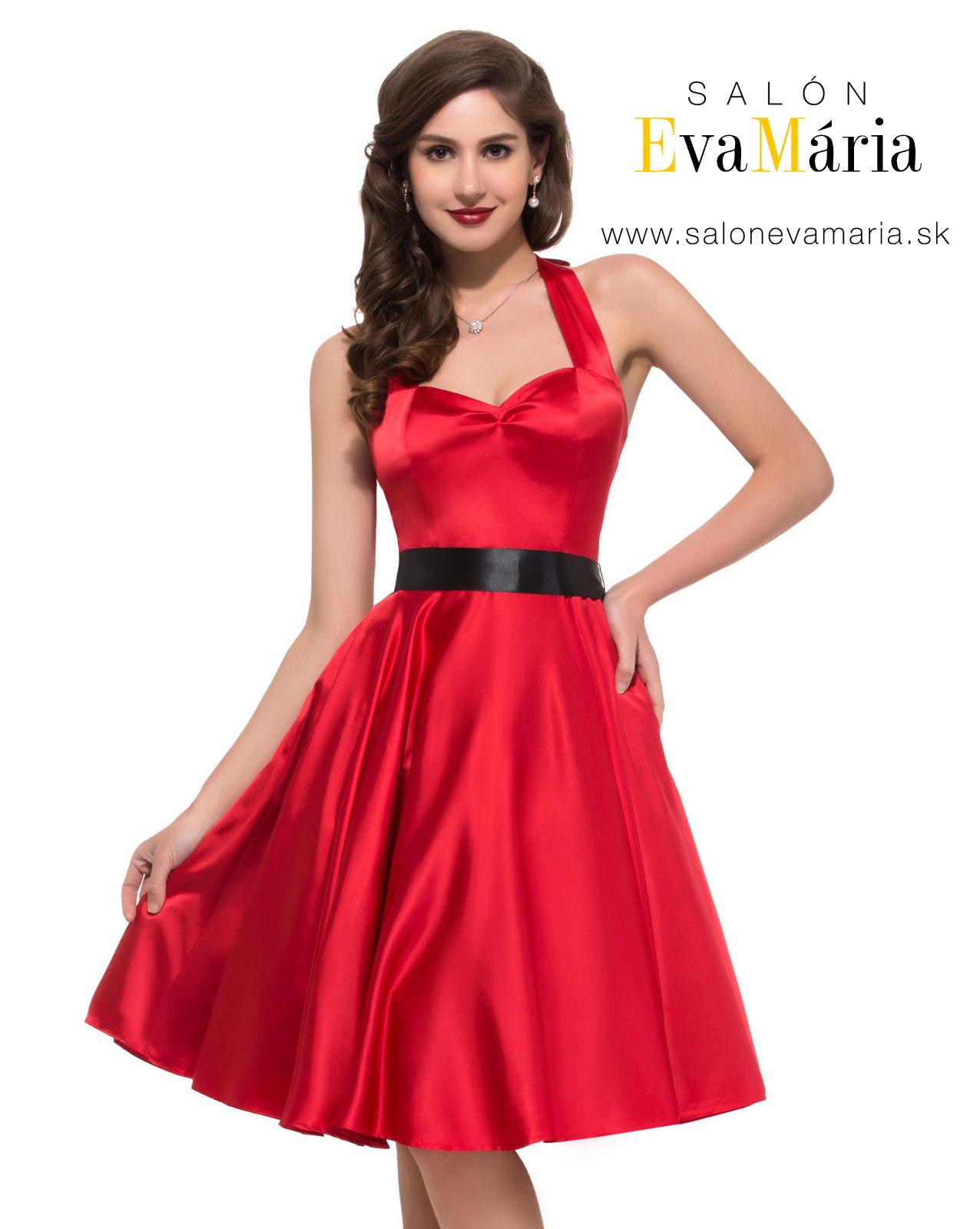 Retro šaty - Prekrásne červené lesklé retro šaty - 50. roky SKLADOM: http://salonevamaria.sk/index.php?id_category=27&controller=category NA OBJEDNÁVKU: http://salonevamaria.sk/index.php?id_category=10&controller=category