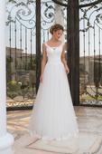 Skvostné svadobné šaty s čipkovaným lemom na sukni, 40