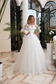 Nádherné svadobné šaty s čipkovanými rukávmi , 38