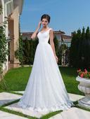 Skvostné svadobné šaty s čipkovanou sukňou , 36