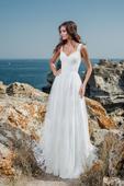 Jednoduché svadobné šaty s čipkovaným živôtikom , 36