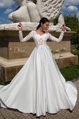 skvostné svadobné šaty so saténovou sukňou, 40