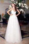 Elegantné svadobné šaty s tenkými ramienkami , 36