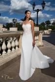 Priliehavé svadobné šaty s jednoduchou vlečkou , 38