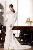 Priliehavé svadobné šaty s dlhými rukávmi , 34