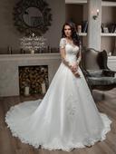 Pôvabné svadobné šaty s dlhými rukávmi, 34