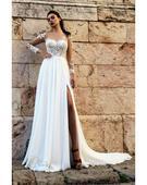 Pôvabné svadobné šaty s padavou sukňou, 40