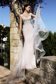 Pôvabné svadobné šaty s predĺženou vlečkou, 36