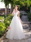 Nádherné svadobné šaty s v-čkovým výstrihom, 34