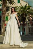 Nádherné svadobné šaty s padavými ramienkami, 40