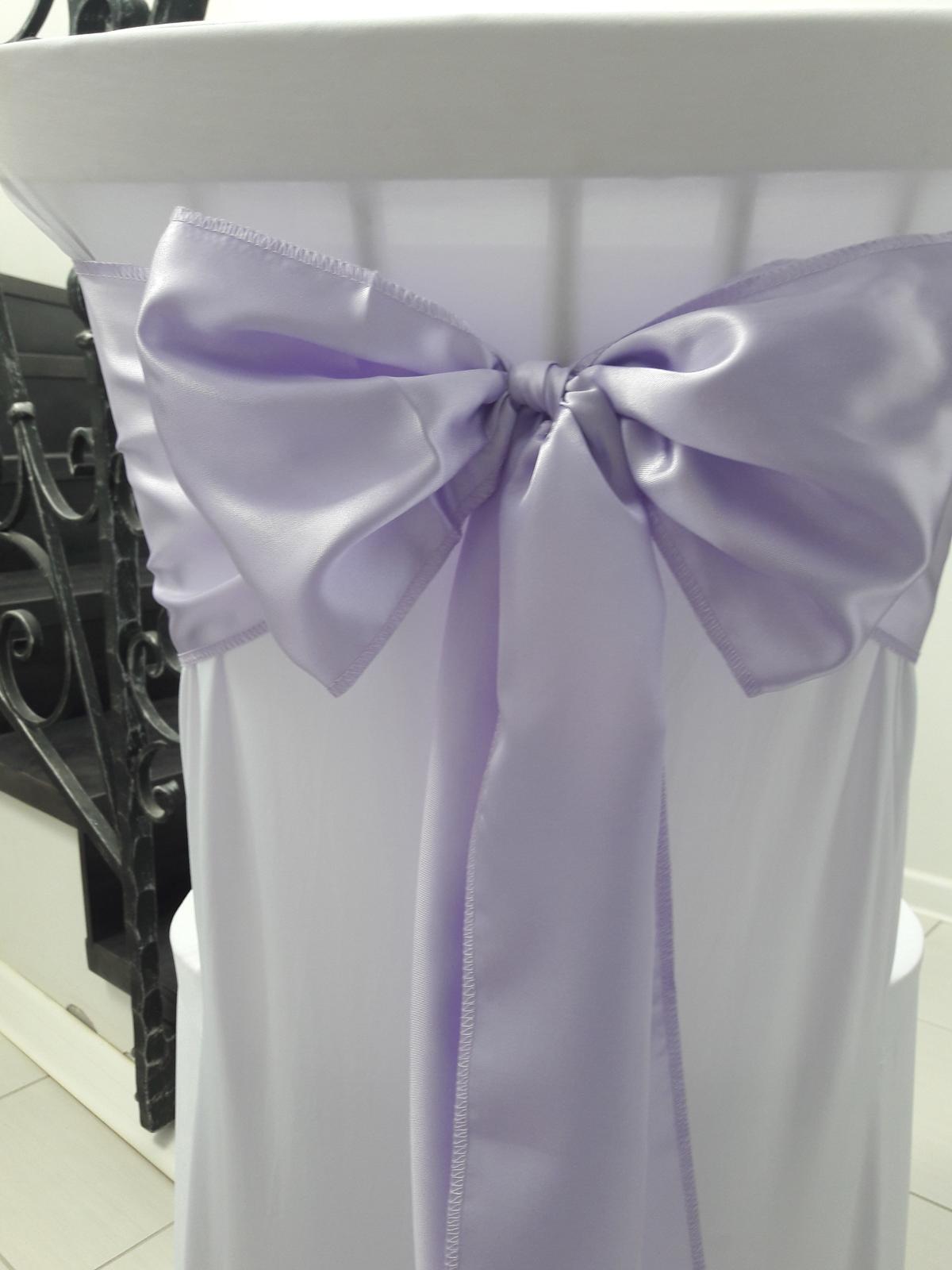 Saténové mašle na stoličky. Bledučko fialová farba - Obrázok č. 1