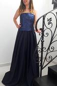 Luxusné spoločenské šaty Tmavomodré , L
