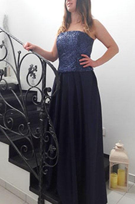 Luxusné spoločenské šaty Tmavomodré  - Obrázok č. 2