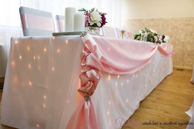 Drapéria na predný stôl - jemná rúžová  - Obrázok č. 1