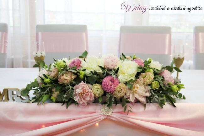 Drapéria na predný stôl - jemná rúžová  - Obrázok č. 2