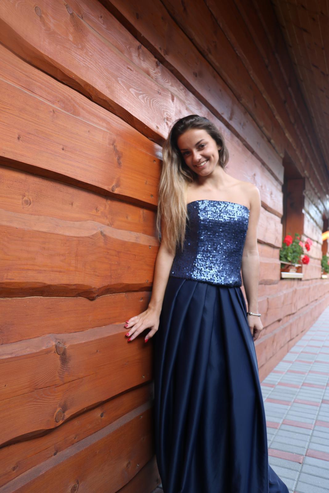 Luxusné spoločenské šaty Tmavomodré  - Obrázok č. 1