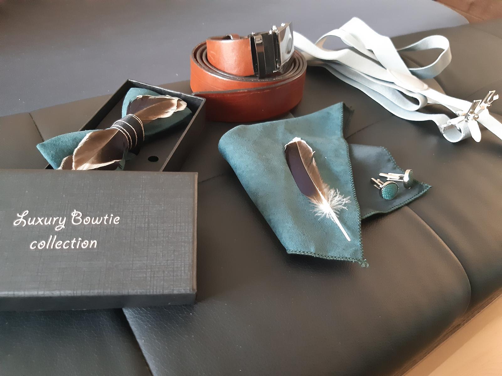 Pánske set motýlik, vreckovka a manžetové gombíky  - Obrázok č. 1