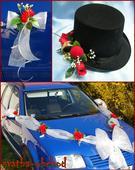 Červené růže na svatebním setu - na dvě auta,