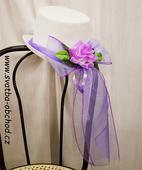 Cylindr s mašlí a růží ve fialové barvě (č.06),