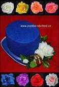 Modrý cylindr s bílou kyticí + prstýnky (č.03),