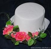 Růžové růže + prstýnky na cylindru (č.03),