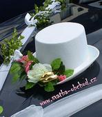 Růžové a bílé růže + prstýnky na cylindru (č.22),