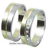 Snubní prsten B77 - zlato + 7x zirkon,