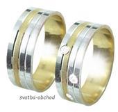Snubní prsten B78 - zlato žluté-bílé,