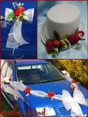 Set na dvě auta - červené růže (č.07),