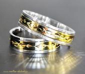 Snubní prsten B45 - zlato bílé-žluté-bílé,