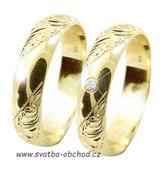 Snubní prsten K5 - žluté zlato + 4x zirkon,