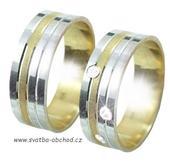 Snubní prsten B78 - zlatý + 3x zirkon,